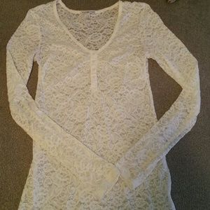 #184 Charlotte Russe White Lace Long-Sleeve Top
